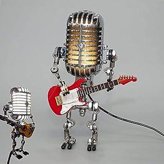 Microfoon Robotlamp, Metalen Craft Retro Nachtlicht, Cool en schattig bureaulamp, Robot Lamp Kantoor, Slaapkamer, Woonkame...