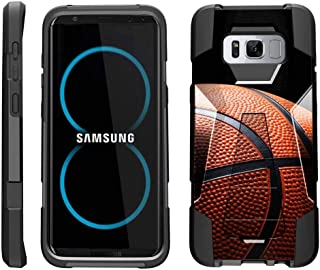 TurtleArmor | Compatible for Samsung Galaxy S8 Case | G950 [Dynamic Shell] Dual Hybrid Hard Impact Silicone Cover Kickstand Sports and Games Design - Basketball Seams