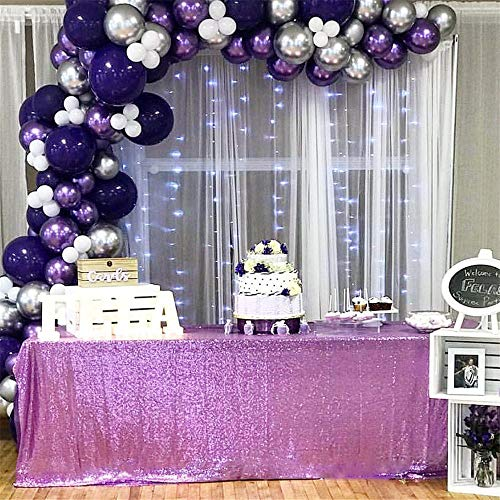 """B-COOL Lavender 90""""X156"""" Rectangle Sequin Tablecloth Wedding Sequin Tablecloth Sequin Table Decorations Sparkly Table Cover Sequin Wedding Party Tablecloth"""