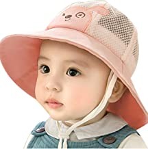 JYAOVO Kids Baby Children Breathable Cute Sun Hat Cotton Foldable 50+ SPF Protective Outdoor Fisherman Hat