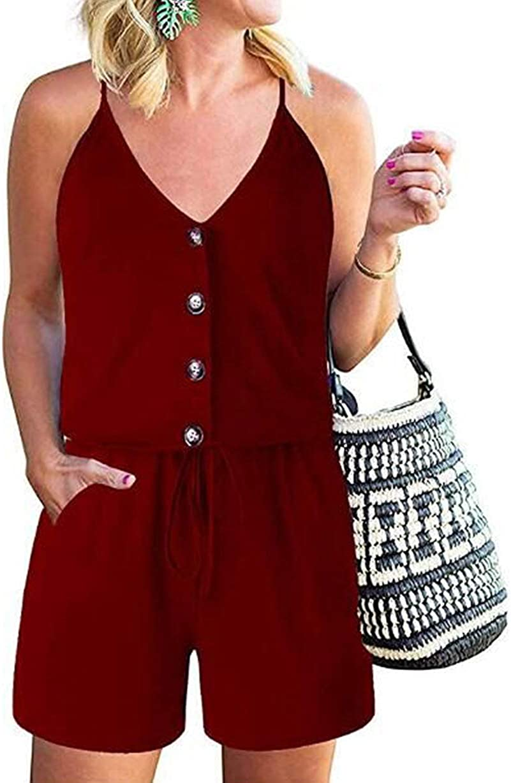 KIRUNDO 2021 Women's Casual Striped Sleeveless Jumpsuit Crewneck Tie Waist Tank Top Short Romper Pajama with Pockets