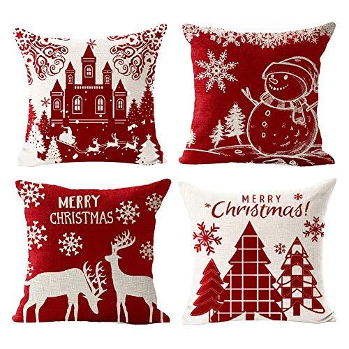 Gspirit 4 Stück Kissenbezug Frohe Weihnachten Dekorative Kissenhülle Winter Weihnachtsbaum Schneemann Schloss Elch Muster Baumwolle Leinen Werfen Sie Kissenbezüge 45x45 cm