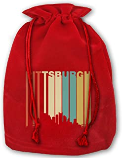 Retro 1970s Pittsburgh Pennsylvania Downtown Skyline Christmas Gift Bags,Red Velvet Santa Sack Drawstring Bags for Christmas Presents