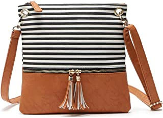 Reliable Stripe Medium Crossbody Bags for Women Messenger Casual Purse with Tassel