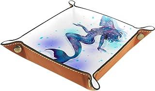 Plateau à bijoux Fantaisie Sirène Bleu Plateau de rangement pour bijoux en cuir Petite boîte de rangement Organisateur de ...