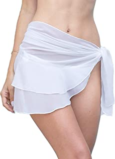 LIENRIDY Womens Chiffon Beach Cover up Sarong Multi Wear Ruffle Pareo Swimsuit Wrap White S-M