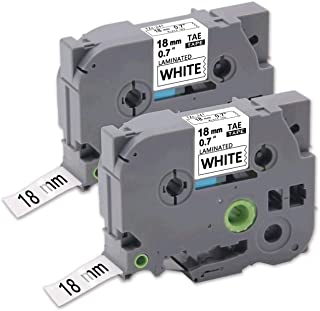 Tze 241 P Touch Label Tape 18mm 0.7 inch, LabelPros Tze-241 Laminated Black on White Tape Compatible with P-Touch PTD400AD PTD 400VP PT-D600 PTD600VP PT-P700 PT-P900W PT-2730, 3/4 in x 26.2 ft (18mm x 8m), 2 Pack