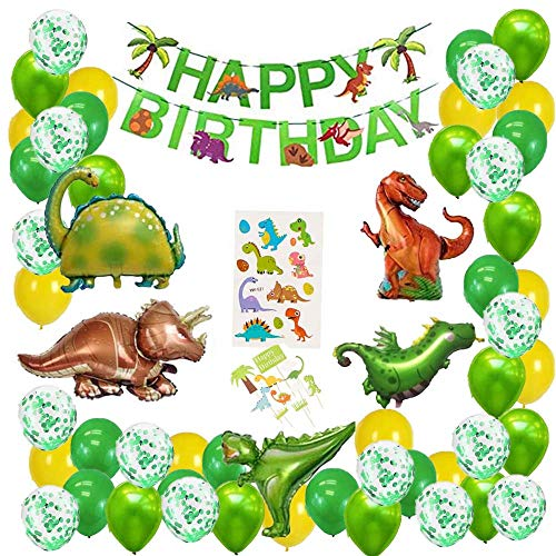 N/C Dino Geburtstag deko,Kindergeburtstag Deko Dinosaurier,Folienballon Dinosaurier Geburtstag,Dekoration Urwald Party Geburtstag Junge,Ballonbogen Jungen und Mädchen,Dino deko Kindergeburtstag Set.