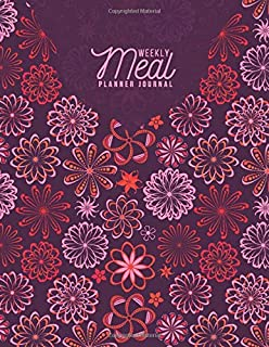 """Weekly Meal Planner Journal: 52 Week Meal Planner, Weight Tracker, Record Breakfast, Lunch, Dinner, Snacks, Water Consumption Diary, Grocery and ... Men, 8.5"""" x 11"""", with 110 Pag (Food Planners)"""