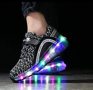 qmj LED Iluminar Zapatillas con Ruedas Zapatos De Skate con Ruedas con Luz LED Niños Niñas Zapatillas De Skateboard,Black-39