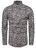 TUNEVUSE Men Floral Print Shirts Casual Long Sleeve Button Down Flower Dress Shirts Cotton Leopard Small