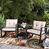 Barton 3-Pieces Outdoor Patio Rocking Chair Set Rocker Style Chair Cushion with Glass Coffee Table Set, Beige