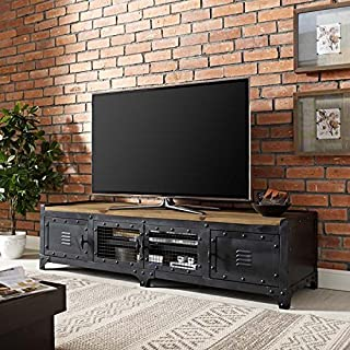 Modway Dungeon Industrial Pine Wood and Steel TV Stand In Black