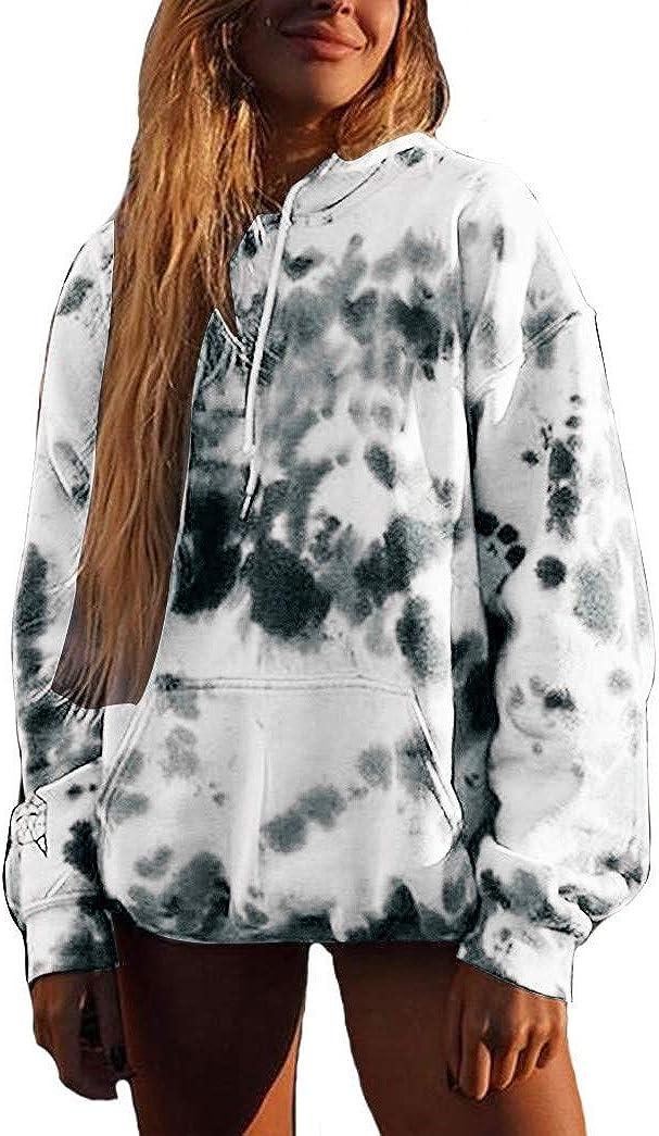 Jaqqra Crewneck Sweatshirt for Women, Women's Casual Long Sleeve Tie Dye Hoody Pullover Tops Shirt Blouse for Teen Girls