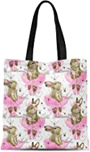 Semtomn Cotton Canvas Tote Bag Pattern Ute Bunny Watercolor Rabbit Cute Ballerina Animal Princess Reusable Shoulder Grocery Shopping Bags Handbag Printed