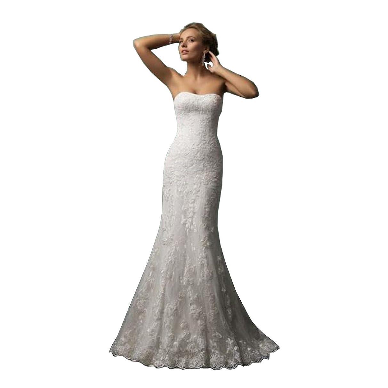 DingDingMail Strapless Lace Mermaid Wedding Dresses 2019 Applique Lace-Up Bridal Gowns (019)