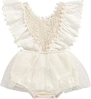 Infant Baby Girl Summer Lace Layered Ruffle Sleeve Romper Dress Bodysuit Clothes