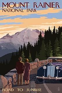 Mount Rainier National Park, Washington - Road to Sunrise (9x12 Art Print, Wall Decor Travel Poster)