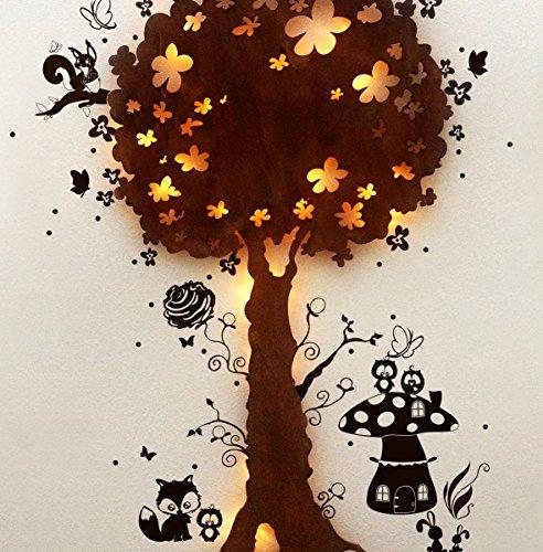 Lampe murale Lampe de lampe Snooze Arbre Lampe enfants animaux dans la forêt m1267