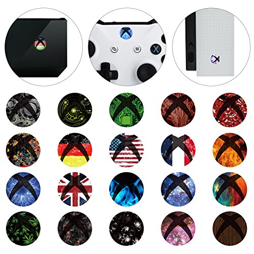 eXtremeRate 60 pcs Custom Home Button Power Switch Stickers Skin Cover for Xbox One/One X/One S Console Kinect and Xbox One/One X/One S/Elite Controllers
