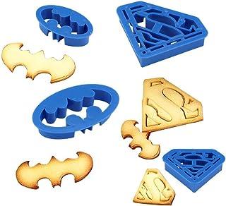 Anokay Set 4 pcs Moule de Biscuit Batman & Superman - Forme de Super Héros pour la Décoration de Pâtisserie - Moule à Bisc...