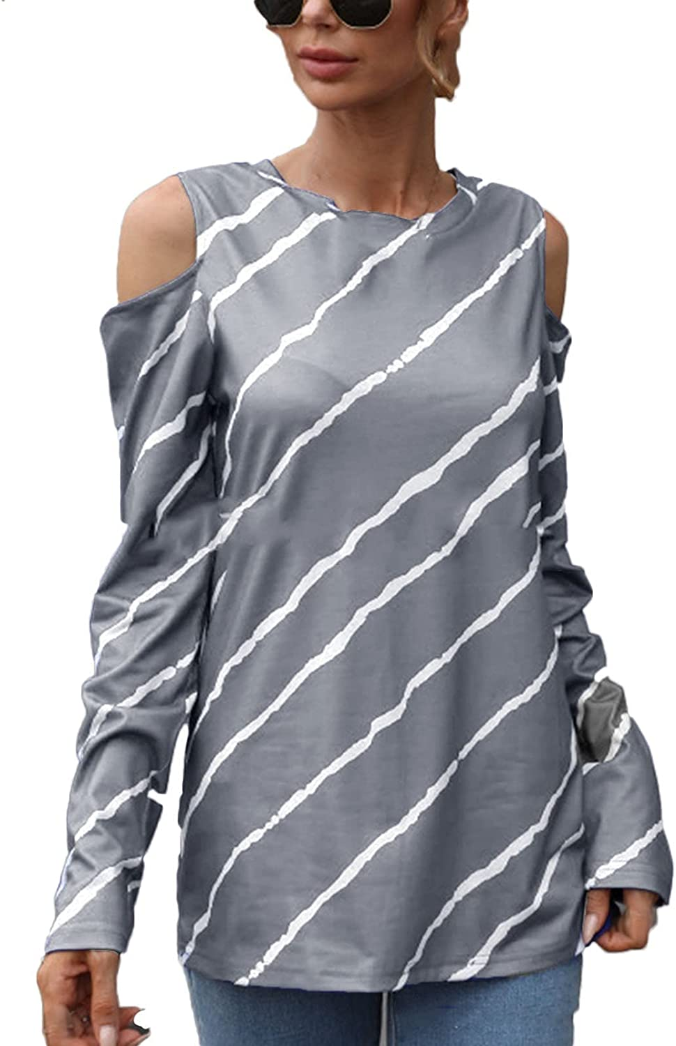 Off The Shoulder Tops for Women Casual shipfree Long Genuine Free Shipping Ptint Sexy Stripes S