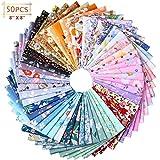 50 Pezzi Patchwork di Tessuto in Cotone 7,87 x 7,87 Pollici Bundle Patchwork Floreali Quadrati di Tessuto...