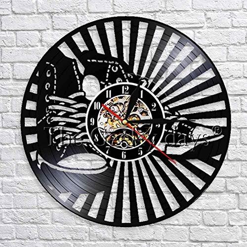 Zapatillas de Deporte de Vinilo Decorativo Reloj de Tiempo Reloj de diseño Moderno Arte de la Pared Decoración Zapatos Reloj de Pared 3D Reloj Creativo Decoración del hogar