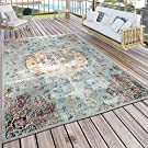 Paco Home Indoor and Outdoor Rug Modern Orient Print Terrace Rug Weatherproof Turquoise, turquoise, 200x280 cm