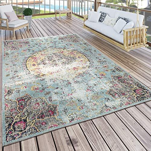 Paco Home In- & Outdoor Teppich Modern Orient Print Terrassen Teppich Türkis, Grösse:160x220 cm