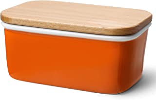 Sweese 301.106 Large Butter Dish - Porcelain Keeper with Beech Wooden Lid, Perfect for 2 Sticks of Butter, Orange