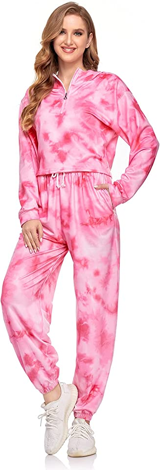 Loungewear Set, 2 Piece Women Tracksuit Set Crop Top, Tie Dye Women's Sweatshirt and Jogger Pant, Sport Jogging Suit