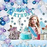 Decoraciones de cumpleaños para niña, tema de princesa con corona y cetro, copos de nieve, globos de látex azul plateado para niña, mujer, suministros para fiesta de cumpleaños