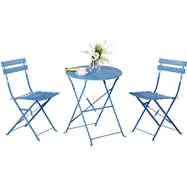 Grand patio 3 Piece Bistro Set, Weather-Resistant Folding Table and Chairs, Indoor/Outdoor Furniture Set (Blue)