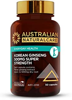 Australian NaturalCare - Energy Support - 500mg Korean Ginseng Super Strength Capsules (50 Count)