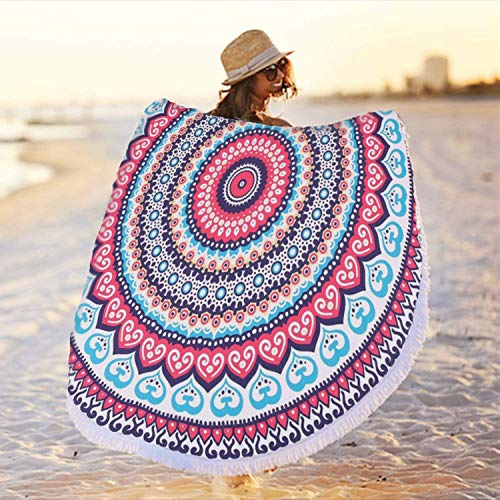 ZZYD Large Round Mandala Beach Towel Soft Absorbent Quick Dry Multipurpose Bath Towel Hippy Bohemian Beach Blanket with Tassels Picnic Yoga Mat Tablecloth Sunscreen Shawl for Travel, 59 Inch