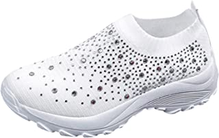 Geilisungren Damen Walkingschuhe Slip On Sneakers Leichte Freizeitschuhe Laufschuhe Atmungsaktiv Turnschuhe Bequem Sportsc...