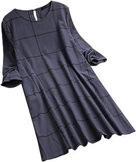 Sexy Dresses for Women Club Night,Womens O-Neck Casual Women Loose Plaid Long Sleeve Vintage Shirt Dress