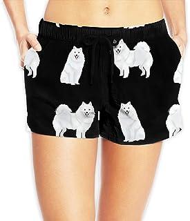 日本のスピッツ犬の生地かわいい白い犬のデザイン - Black_785 ショートパンツ レディース おしゃれ フィットネスパンツ スポーツ 短パン ビーチパンツ ランニング 水着 サーフパンツ