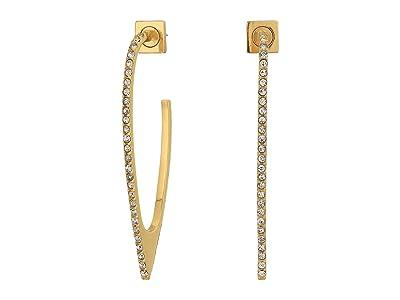 Vince Camuto Pave Hoop Earrings (Gold/Crystal) Earring