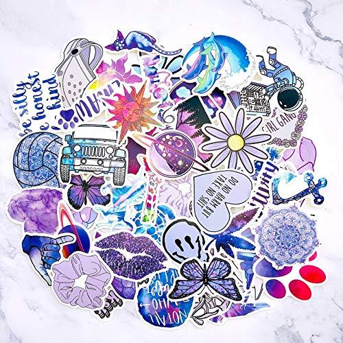 XIAMU Dibujos Animados Lindo Vsco Chica púrpura Pegatinas monopatín Maleta portátil Guitarra Botella de Agua Pegatina Impermeable 50 Uds