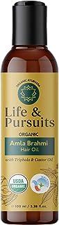 Life & Pursuits USDA Organic Amla Brahmi Hair Oil (100 ml) for Hair Growth with Triphala, Hibiscus, Castor, Sesame, Coconu...
