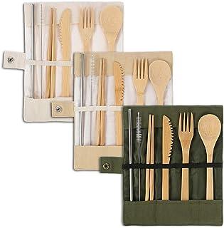 Tagaremuser - Juego de 3 cubiertos de bambú, utensilios de viaje de bambú reutilizables, incluye cuchillo, tenedor, cuchara, palillos, pajita y cepillo con bolsa de tela