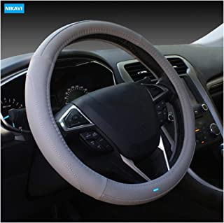 NIKAVI Microfiber Leather Auto Car Steering Wheel Cover Universal 15 inch (GREY)