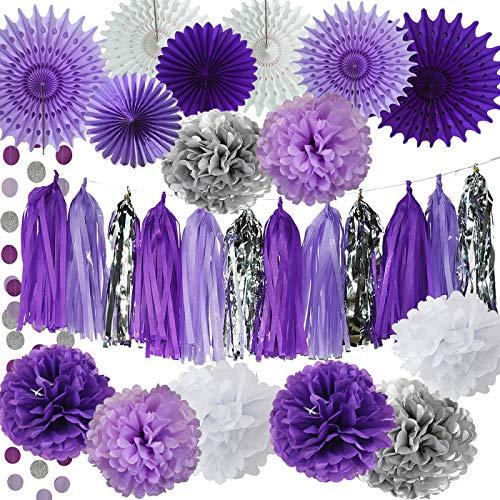 Purple Silver Bridal Shower Decorations Purple White Silver Tissue Pom Pom wth Amaranth Purple White Tissue Paper Fans for Lavender Baby Shower Decorations/Purple Birthday Party Decorations