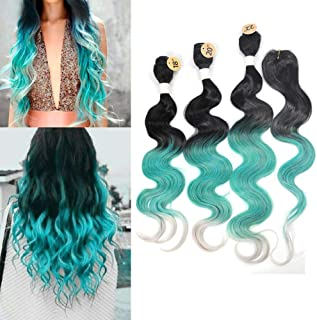 Ombre Green Braiding hair Kanekalon 3 Bundles with Lace Closure 3 Tone Color Synthetic Body Wave Hair Extensions Heat Resistance