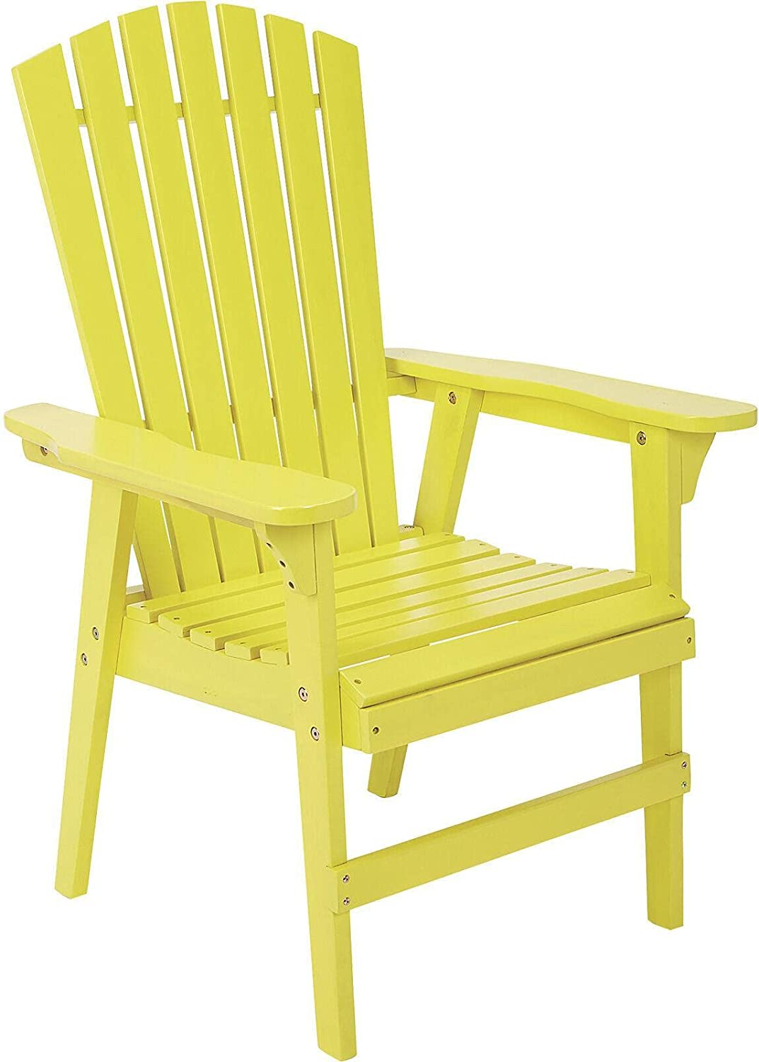 El Paso Mall Painted Wood Upright Chair - Fu Yellow Opening large release sale Patio Patio-Dining-Chairs