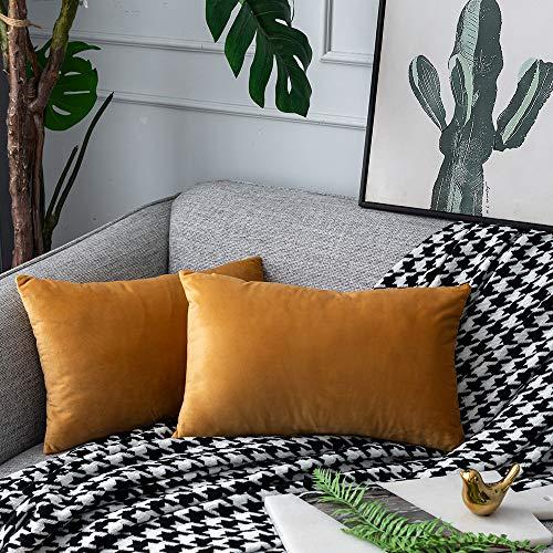 UPOPO Juego de 2 fundas de cojín de terciopelo, decorativas, de un solo color, suave, con cremallera, 30 x 50 cm, color naranja