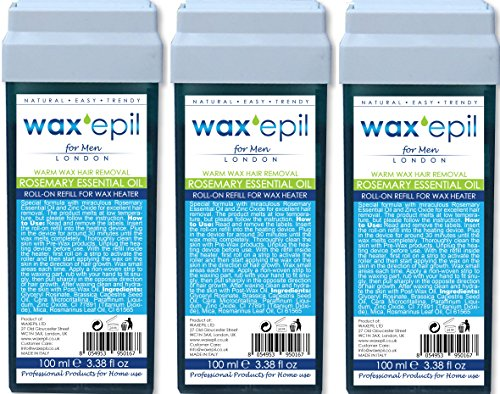 WAXEPIL roll-on recharge 3*ROSEMARY ESSENTIAL OIL* SPECIAL HOMME, GRANDES ZONES, cartouche cire épilation roll on professionnel - 3x100ml recharges (1=€2,99)
