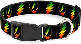 Buckle Down Dog Collar Plastic Clip Steal Your Face Lightning Bolt Repeat Black Rasta 15 to 26 Inches 1.0 Inch Wide